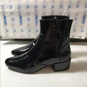 New Zara Women Ankle Boots Size 8 Shiny Black Rain